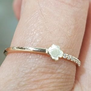 Dainty Clover 14k Yellow Gold Promise Ring